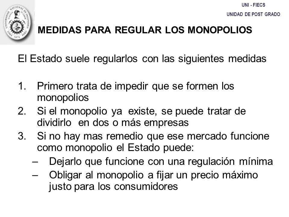 MEDIDAS PARA REGULAR LOS MONOPOLIOS