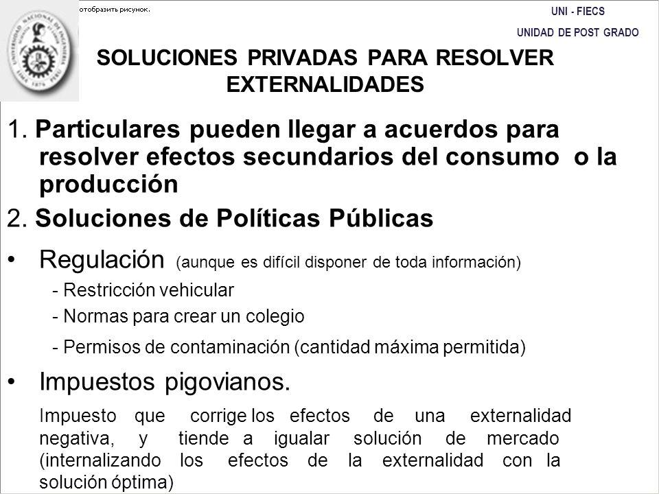 SOLUCIONES PRIVADAS PARA RESOLVER EXTERNALIDADES