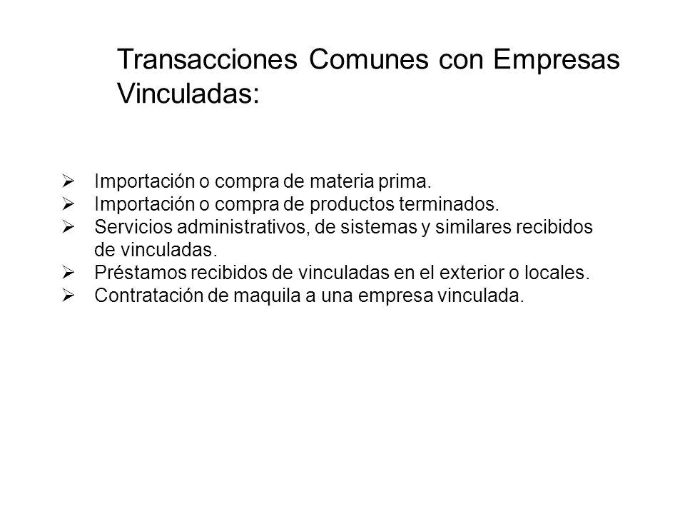 Transacciones Comunes con Empresas Vinculadas: