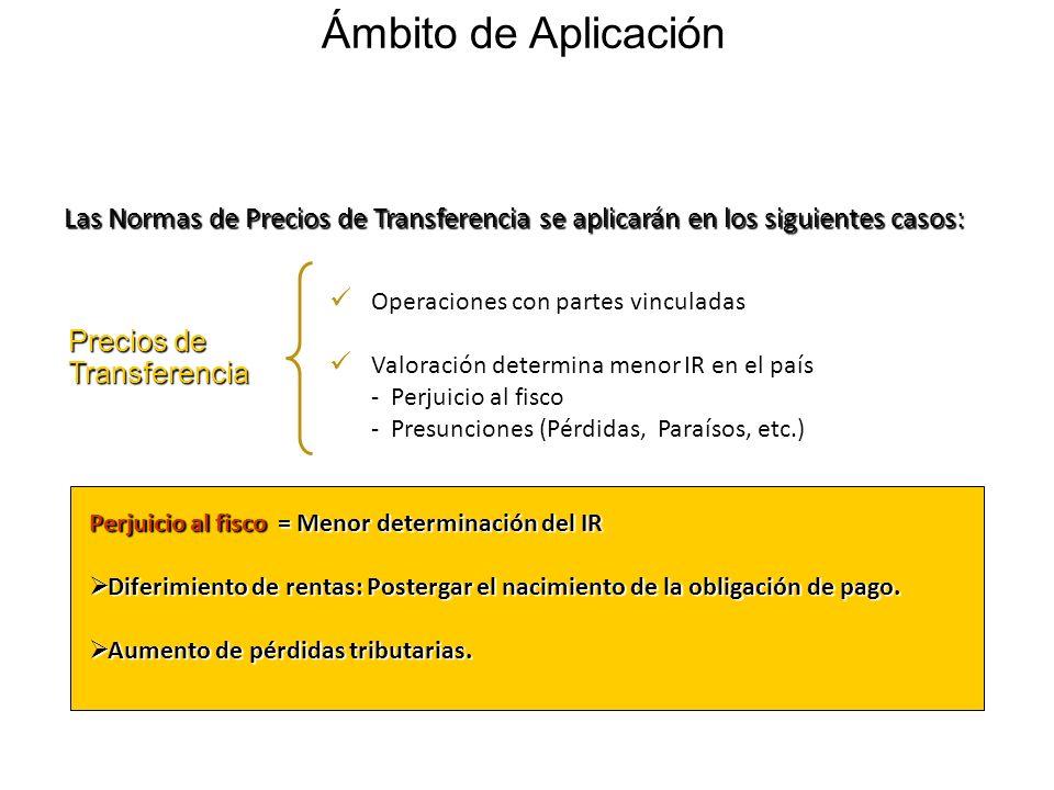 Ámbito de Aplicación Las Normas de Precios de Transferencia se aplicarán en los siguientes casos: Operaciones con partes vinculadas.