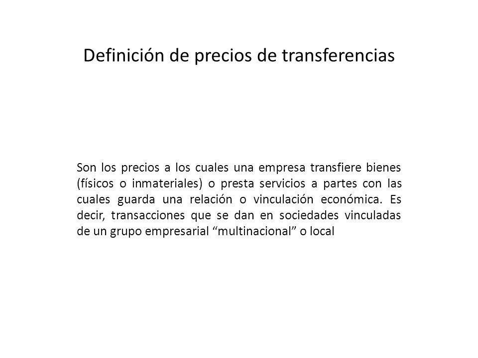 Definición de precios de transferencias