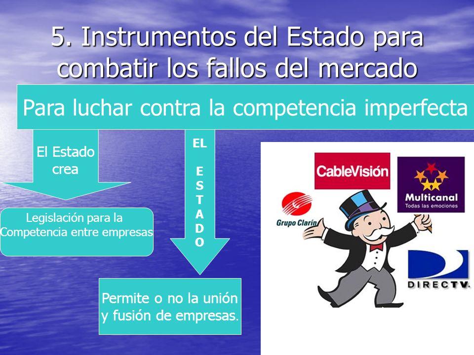 5. Instrumentos del Estado para combatir los fallos del mercado