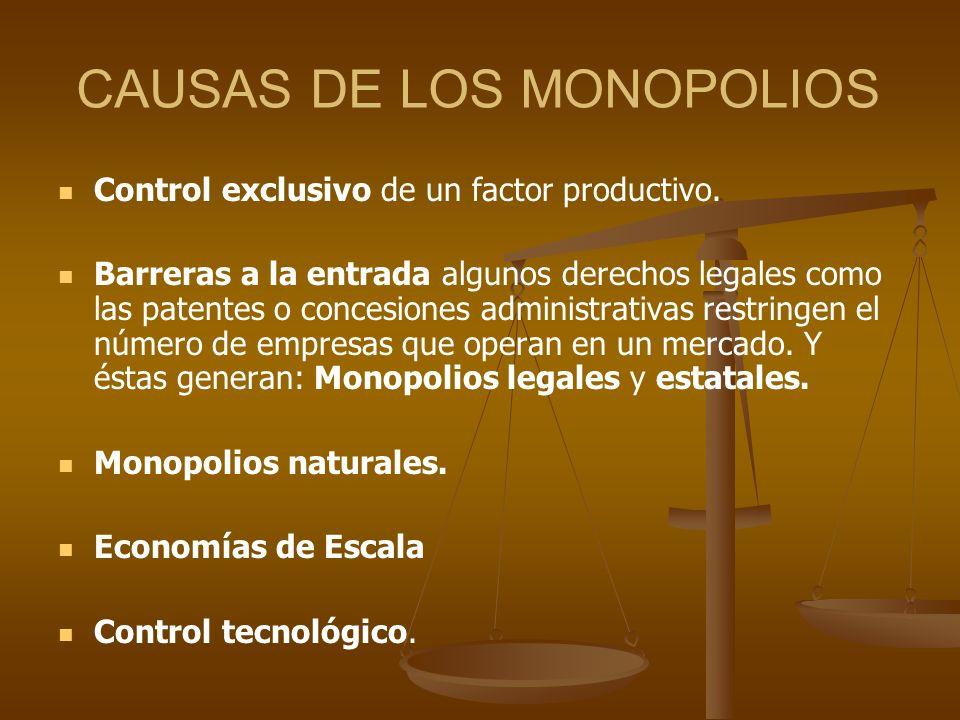 CAUSAS DE LOS MONOPOLIOS