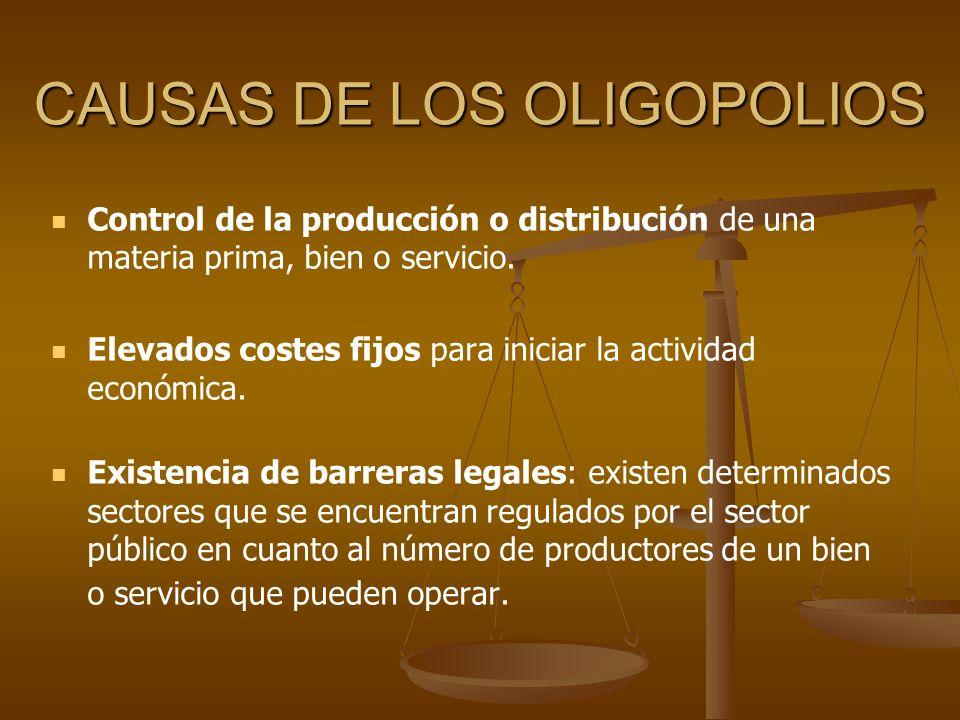 CAUSAS DE LOS OLIGOPOLIOS