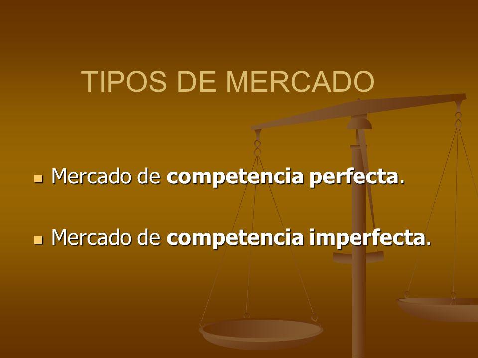 TIPOS DE MERCADO Mercado de competencia perfecta.