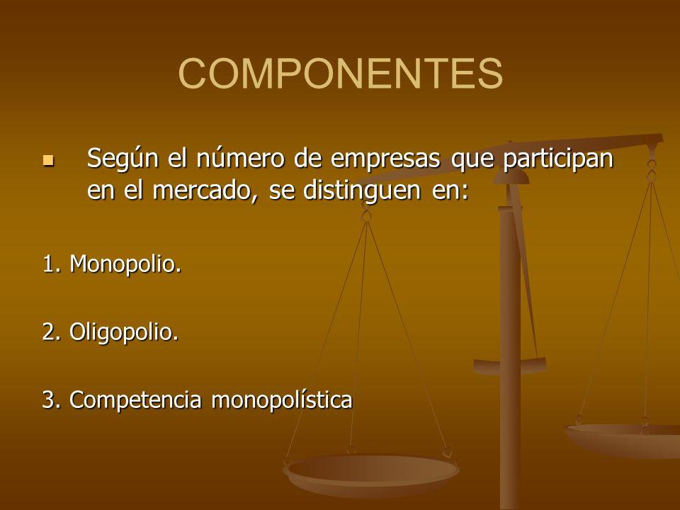COMPONENTES Según el número de empresas que participan en el mercado, se distinguen en: 1. Monopolio.