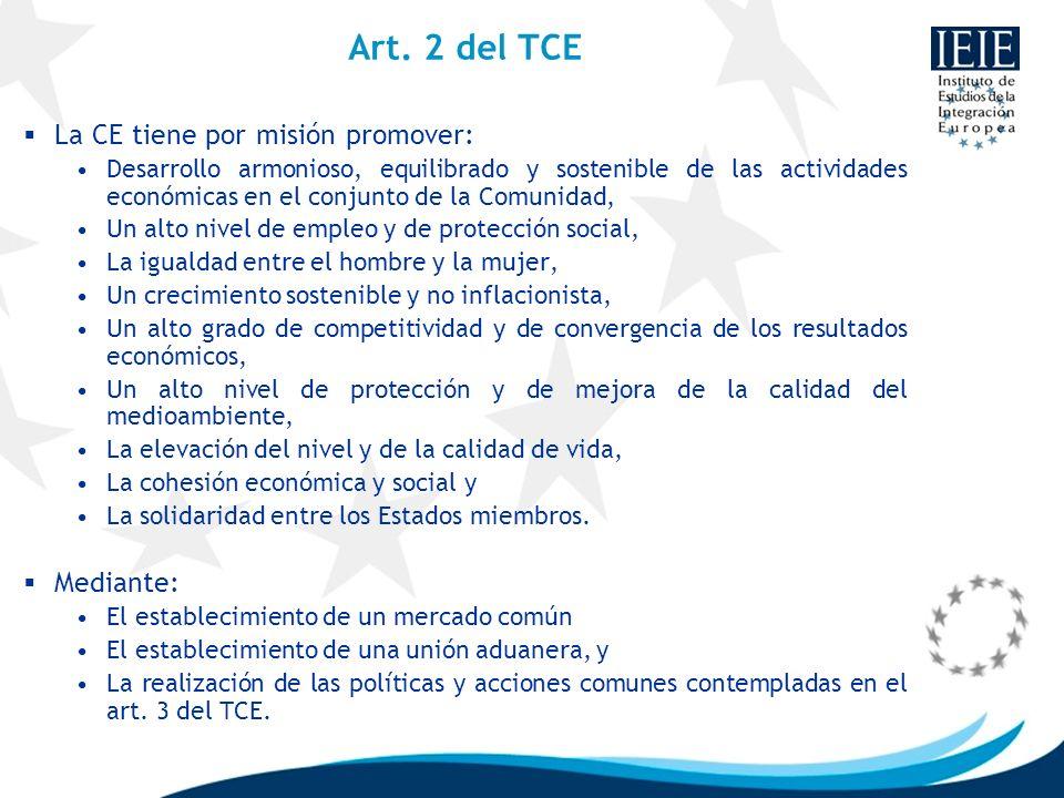 Art. 2 del TCE La CE tiene por misión promover: Mediante: