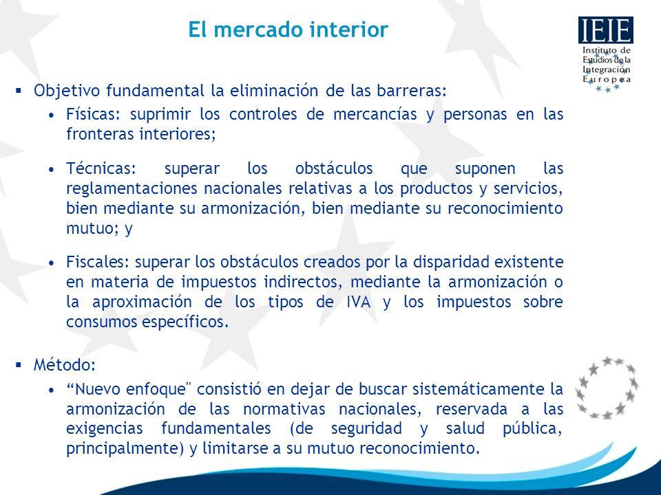 El mercado interiorObjetivo fundamental la eliminación de las barreras: