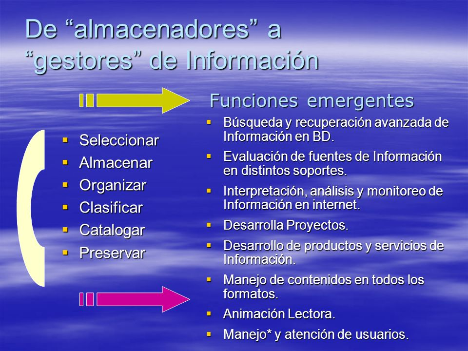 De almacenadores a gestores de Información