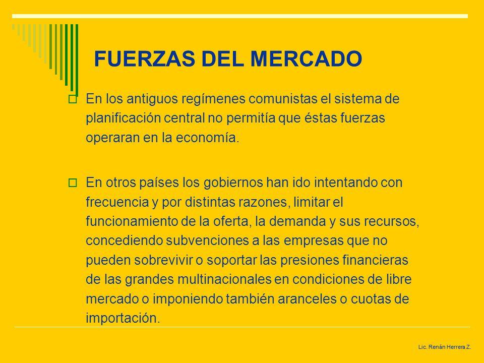 FUERZAS DEL MERCADO En los antiguos regímenes comunistas el sistema de planificación central no permitía que éstas fuerzas operaran en la economía.