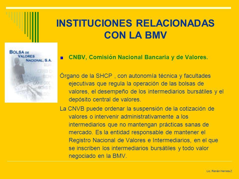 INSTITUCIONES RELACIONADAS CON LA BMV