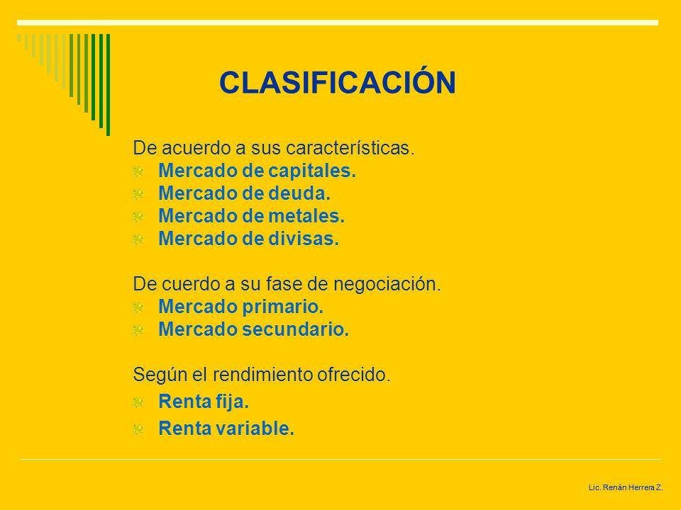 CLASIFICACIÓN De acuerdo a sus características. Mercado de capitales.