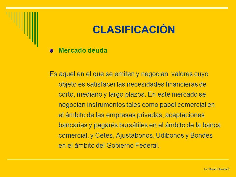 CLASIFICACIÓN Mercado deuda