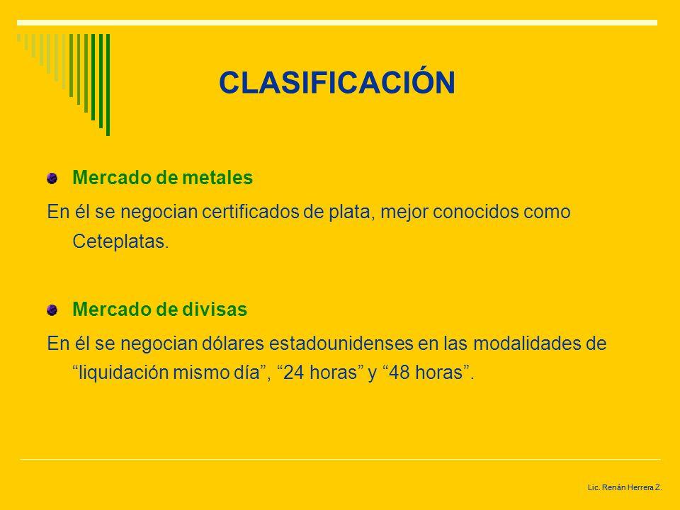 CLASIFICACIÓN Mercado de metales