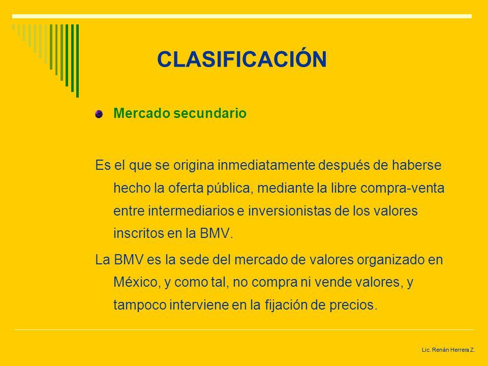 CLASIFICACIÓN Mercado secundario