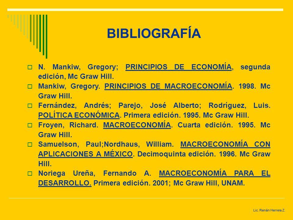 BIBLIOGRAFÍA N. Mankiw, Gregory; PRINCIPIOS DE ECONOMÍA, segunda edición, Mc Graw Hill.