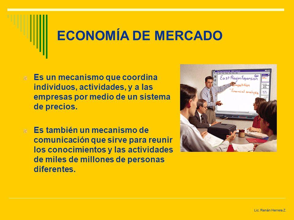 ECONOMÍA DE MERCADO Es un mecanismo que coordina individuos, actividades, y a las empresas por medio de un sistema de precios.