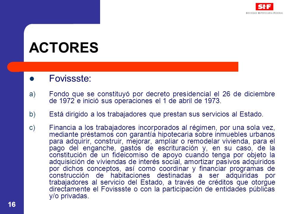 ACTORES Fovissste: Fondo que se constituyó por decreto presidencial el 26 de diciembre de 1972 e inició sus operaciones el 1 de abril de 1973.
