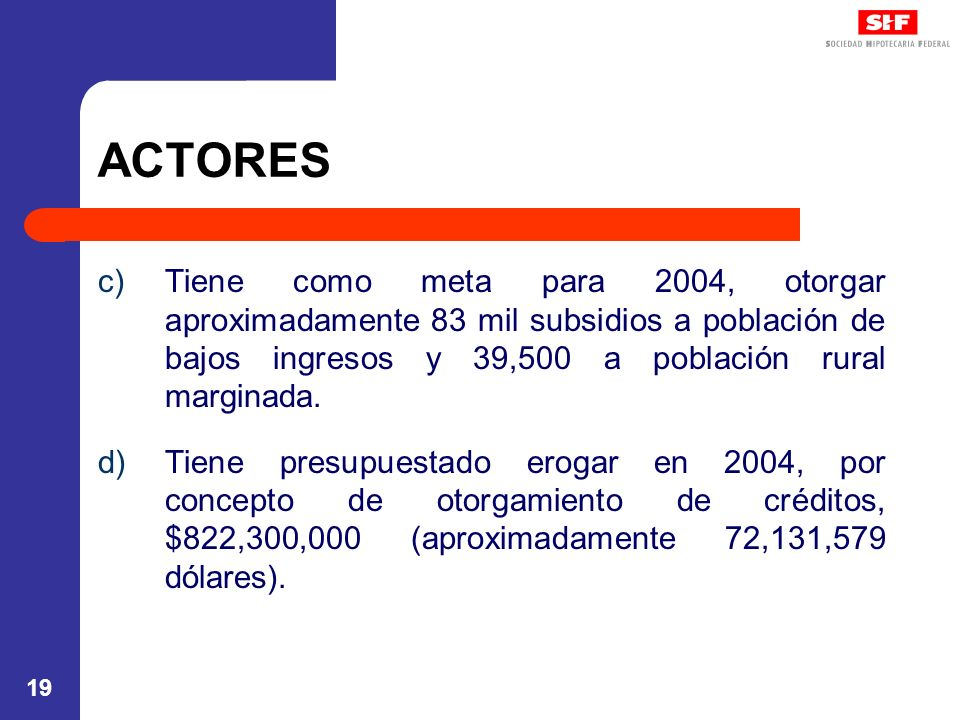 ACTORES Tiene como meta para 2004, otorgar aproximadamente 83 mil subsidios a población de bajos ingresos y 39,500 a población rural marginada.