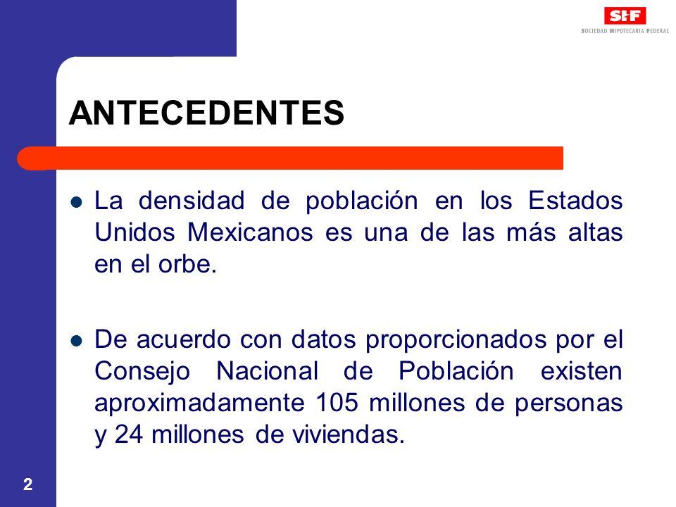 ANTECEDENTES La densidad de población en los Estados Unidos Mexicanos es una de las más altas en el orbe.
