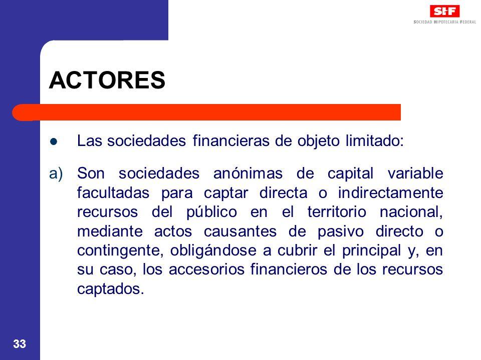 ACTORES Las sociedades financieras de objeto limitado: