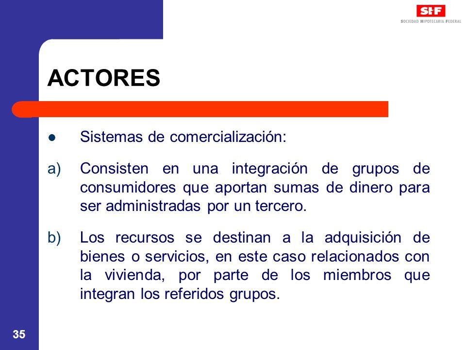 ACTORES Sistemas de comercialización: