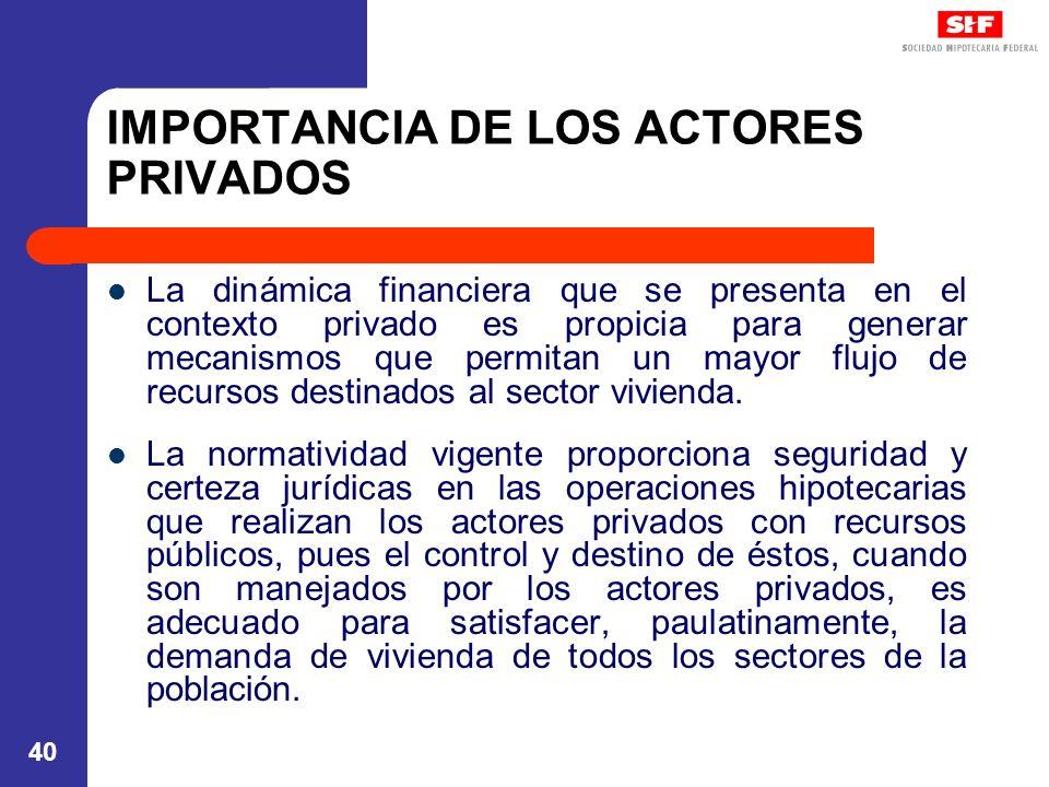 IMPORTANCIA DE LOS ACTORES PRIVADOS