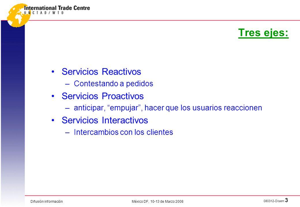 Tres ejes: Servicios Reactivos Servicios Proactivos