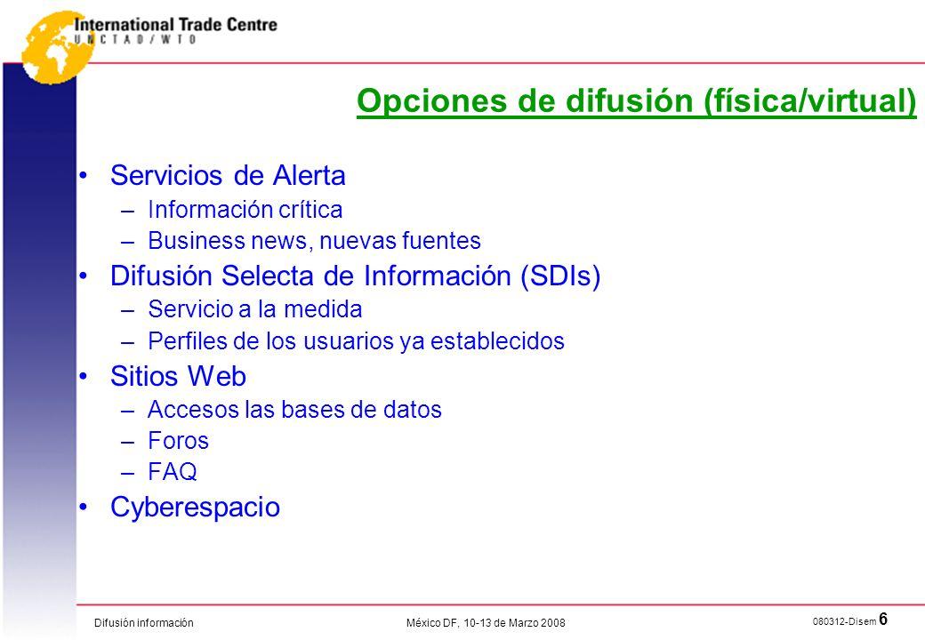 Opciones de difusión (física/virtual)