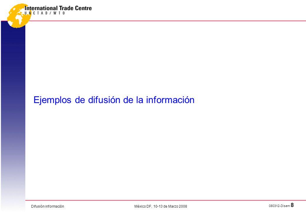 Ejemplos de difusión de la información
