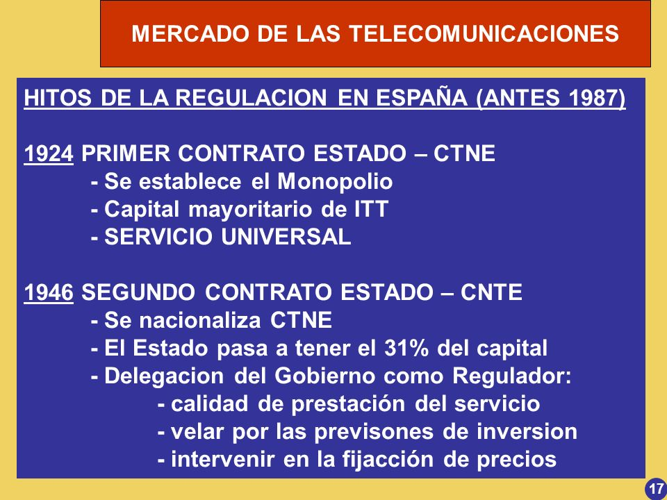 HITOS DE LA REGULACION EN ESPAÑA (ANTES 1987)
