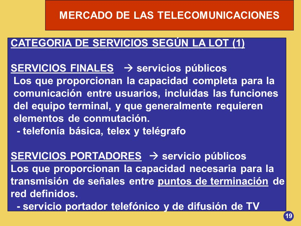 CATEGORIA DE SERVICIOS SEGÚN LA LOT (1)