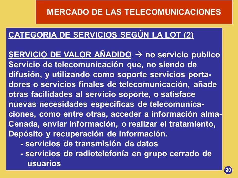 CATEGORIA DE SERVICIOS SEGÚN LA LOT (2)