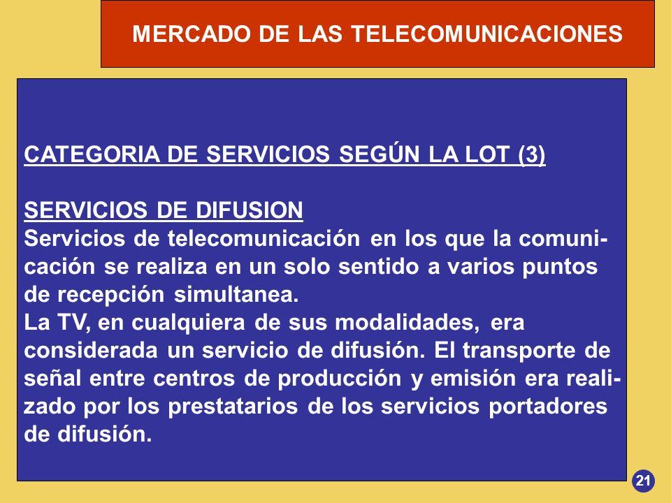 CATEGORIA DE SERVICIOS SEGÚN LA LOT (3) SERVICIOS DE DIFUSION