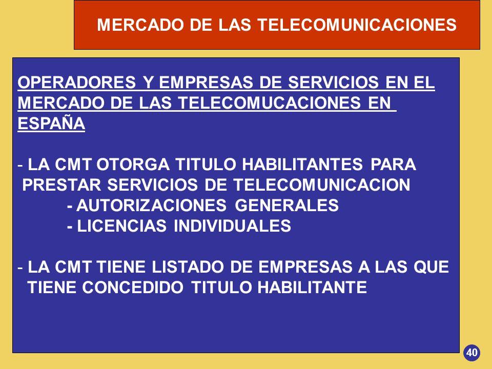 OPERADORES Y EMPRESAS DE SERVICIOS EN EL