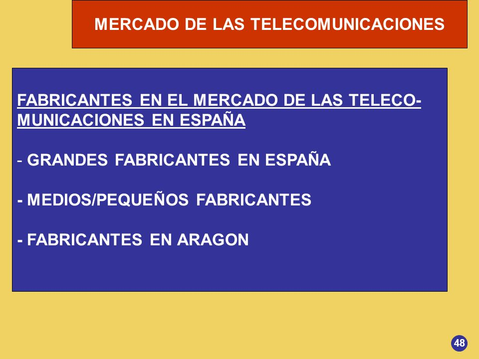 FABRICANTES EN EL MERCADO DE LAS TELECO- MUNICACIONES EN ESPAÑA