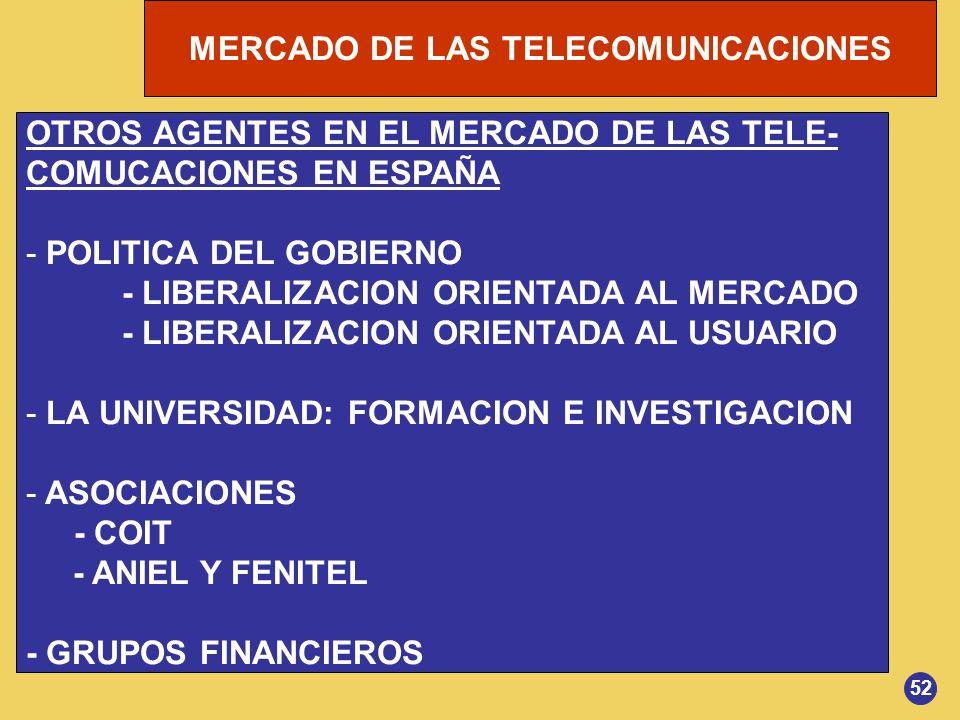 OTROS AGENTES EN EL MERCADO DE LAS TELE- COMUCACIONES EN ESPAÑA