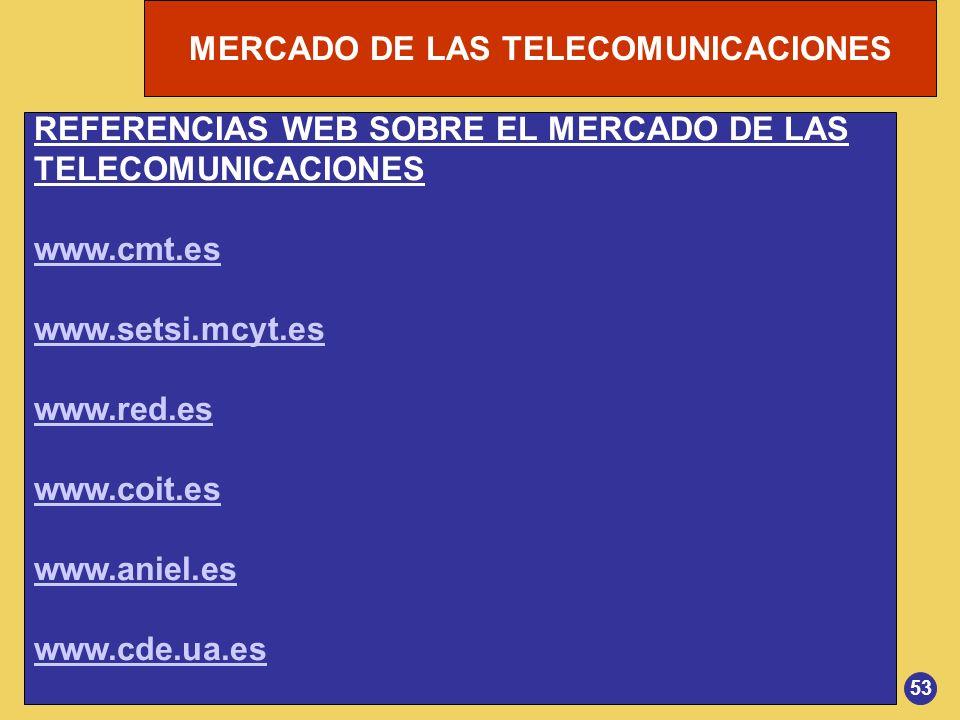 REFERENCIAS WEB SOBRE EL MERCADO DE LAS TELECOMUNICACIONES www.cmt.es
