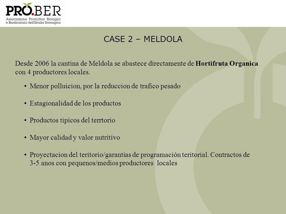 CASE 2 – MELDOLA Desde 2006 la cantina de Meldola se abastece directamente de Hortifruta Organica con 4 productores locales.