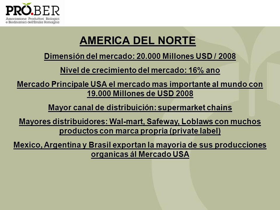 AMERICA DEL NORTE Dimensión del mercado: 20.000 Millones USD / 2008