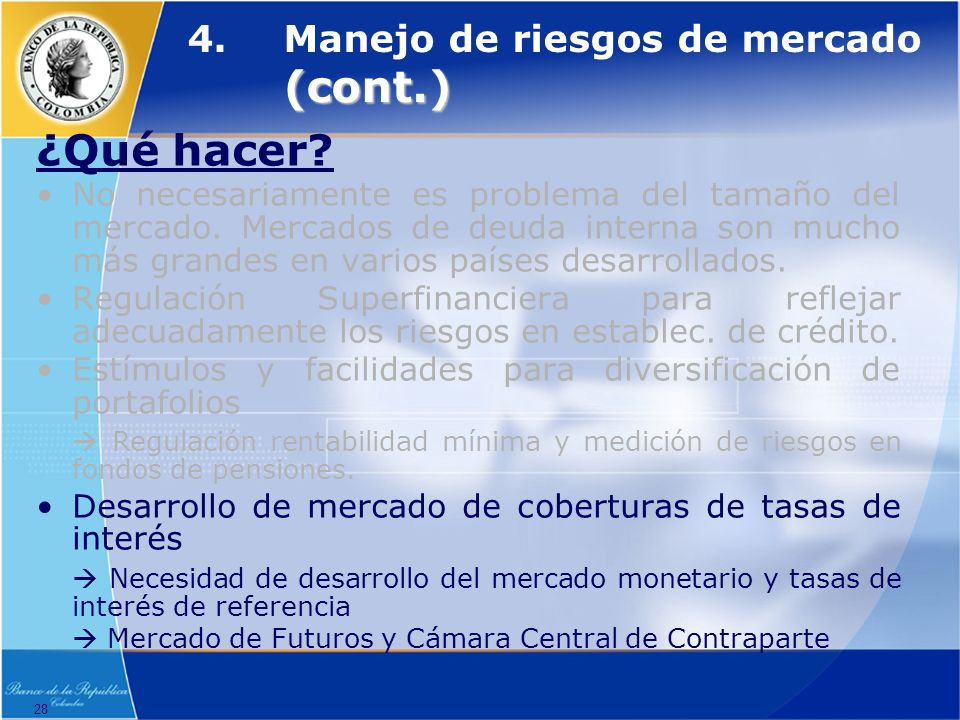 4. Manejo de riesgos de mercado (cont.)