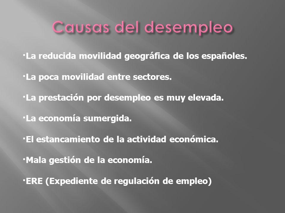 Causas del desempleo ·La reducida movilidad geográfica de los españoles. ·La poca movilidad entre sectores.