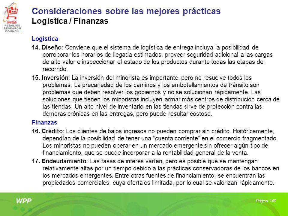 Consideraciones sobre las mejores prácticas Logística / Finanzas