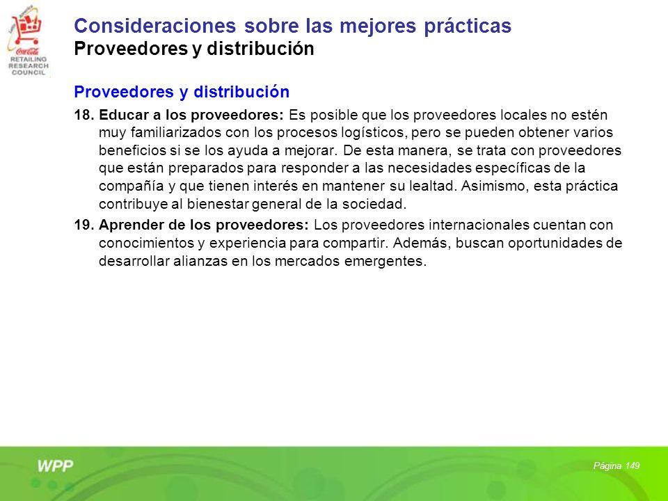 Consideraciones sobre las mejores prácticas Proveedores y distribución