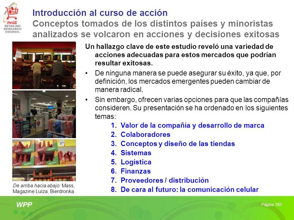 Introducción al curso de acción Conceptos tomados de los distintos países y minoristas analizados se volcaron en acciones y decisiones exitosas