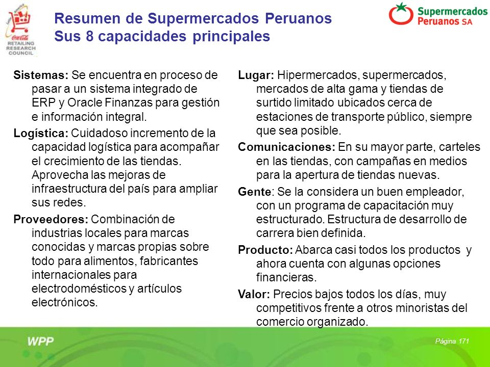 Resumen de Supermercados Peruanos Sus 8 capacidades principales
