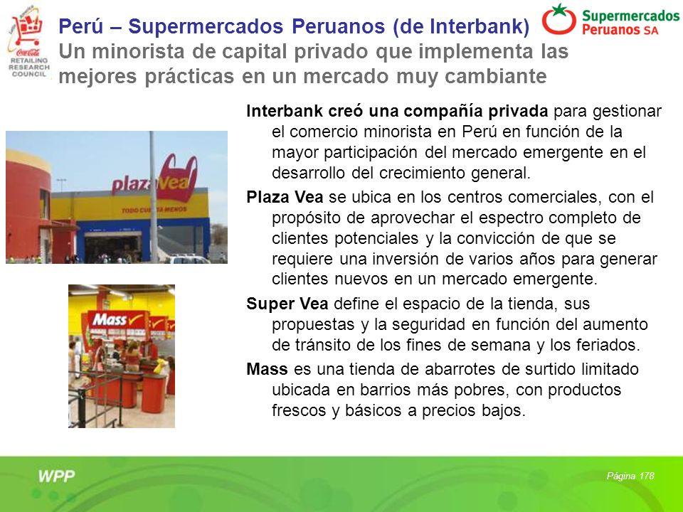 Perú – Supermercados Peruanos (de Interbank) Un minorista de capital privado que implementa las mejores prácticas en un mercado muy cambiante