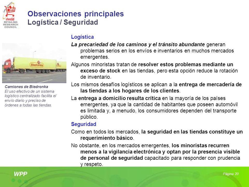 Observaciones principales Logística / Seguridad
