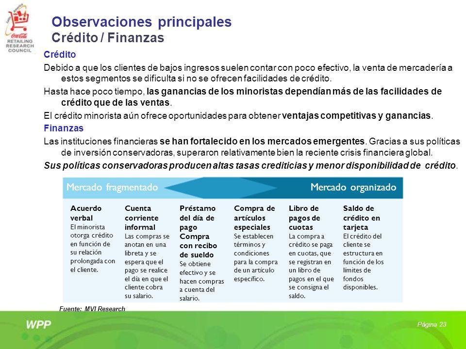 Observaciones principales Crédito / Finanzas