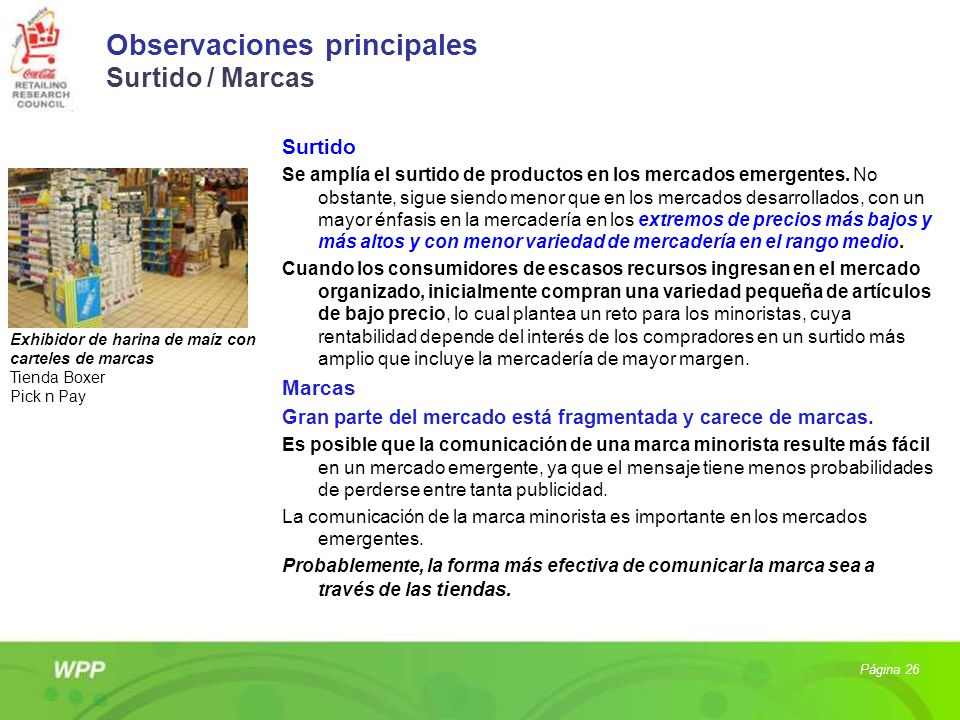 Observaciones principales Surtido / Marcas